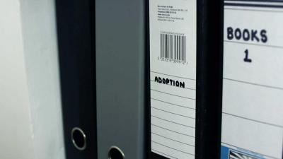 Image of adoption folders on a shelf
