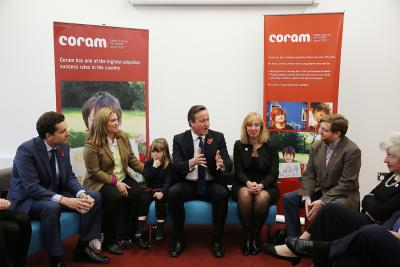 David Cameron meets adoptive parents at the Coram campus
