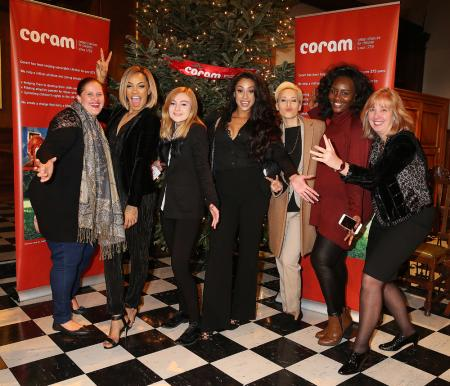 Stooshe with Coram adoption staff, our Adoptables ambassador and CEO Dr Carol Homden at Coram Christmas concert 2015