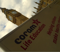 Coram Life Education bus outside Westminster
