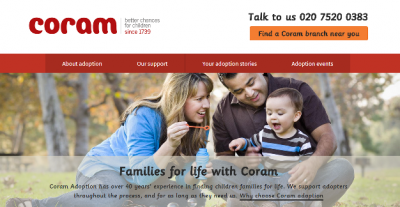 Coram Adoption website homepage