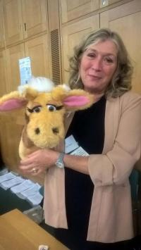 Harold the Giraffe with Mary Moore of Hillingdon at Westminster