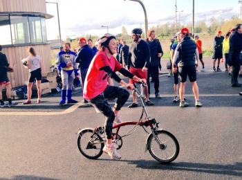 A Mace Foundation cyclist riding for Coram