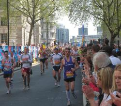 Runners and crowds at the London Marathon