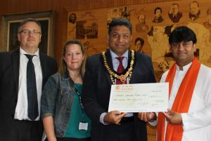 From left to right: Representing Coram - Peter Tolley, Alison Pavey, The Mayor of Harrow Cllr Ajay Maru, and representing ISSC Dr Parmar
