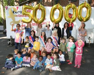 Miss World Megan Young, Miss England Carina Tyrell and Miss Wales Alice Ford visit Coram children's charity as the Miss World Organisation donates £50,000 to its work with vulnerable children