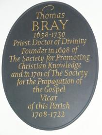 Rev Thomas Bray memorial plaque