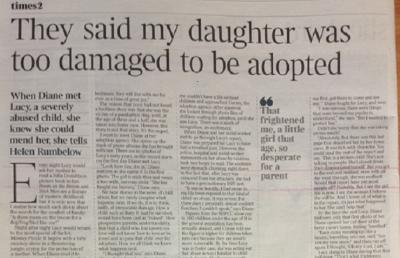 Shot of Coram Adoption feature in The Times