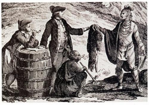 Drawing of fur traders, 17th Century Canada