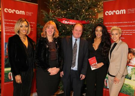 Stooshe with Dr Carol Homden and James Naughtie at Coram's Carol Concert 2015