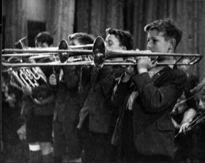 boys playing the trombone at the Foundling Hospital