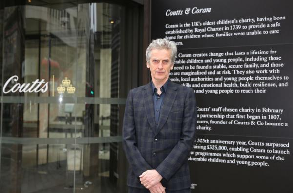 Peter Capaldi at Coram unveiling window displays