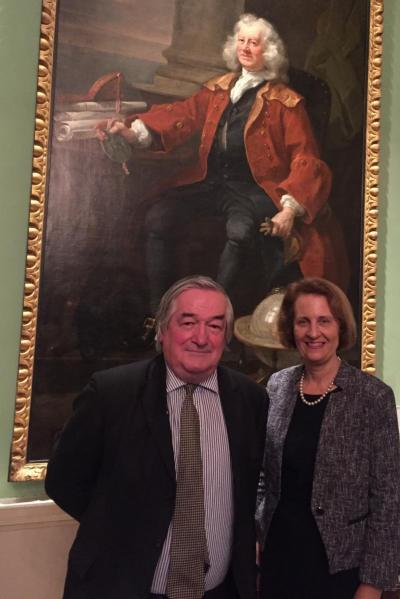 Sir James Munby and Professor Dame Carolyn Hamilton with Thomas Coram portrait