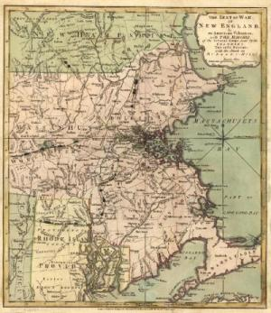 Map of Massachusetts showing Boston and Taunton