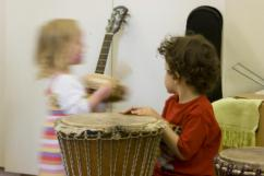 Children engage in music therapy