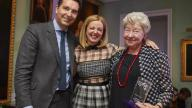 Image of Jeanne Kaniuk with Edward Timpson MP and awards presenter Clare Grogan