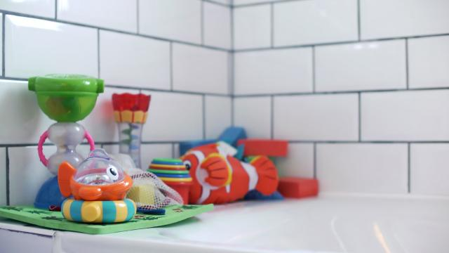 Bathtub with children's toys