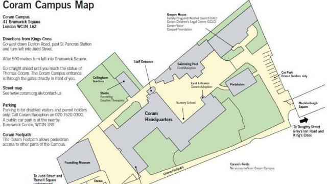 map of Coram's campus