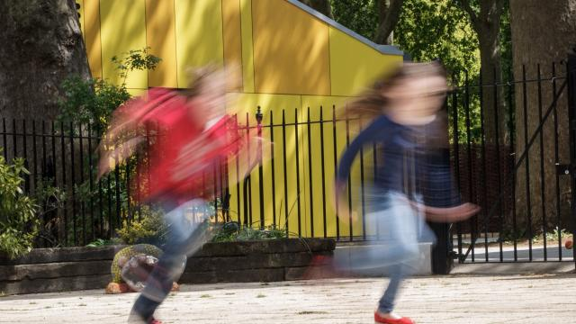 Children running in the Coram campus